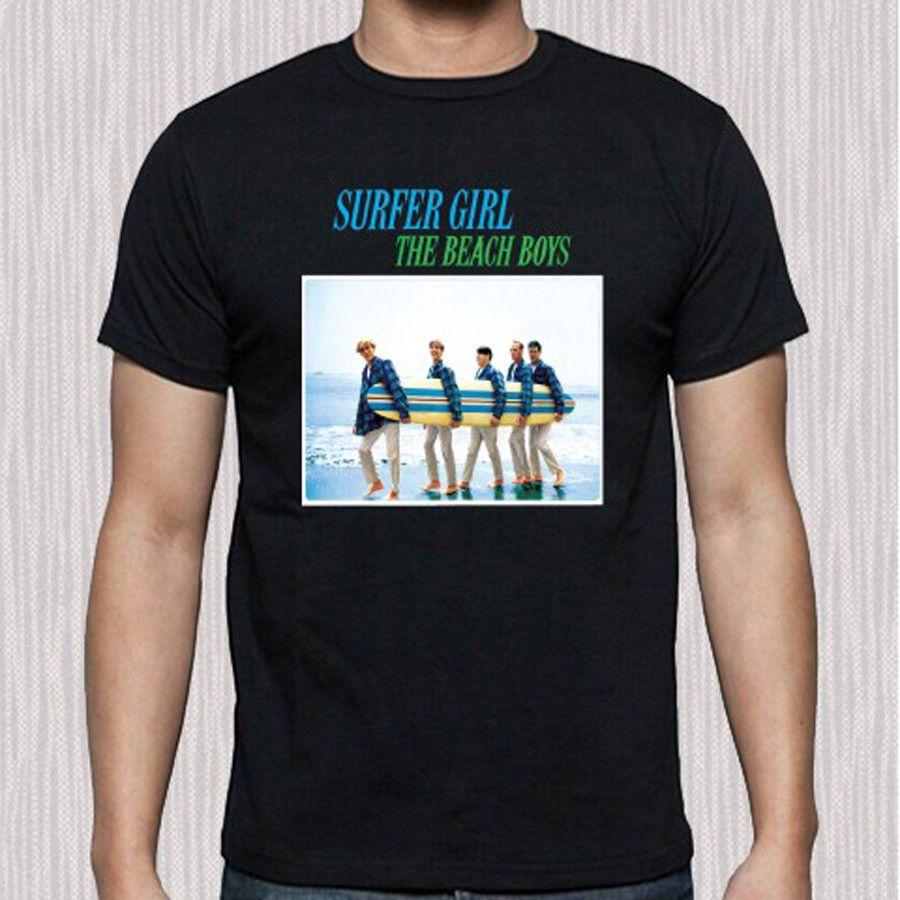 19eb0f363 The Beach Boys Surfer Girl Rock Band Legend Men's Black T-Shirt Size S to  3XL