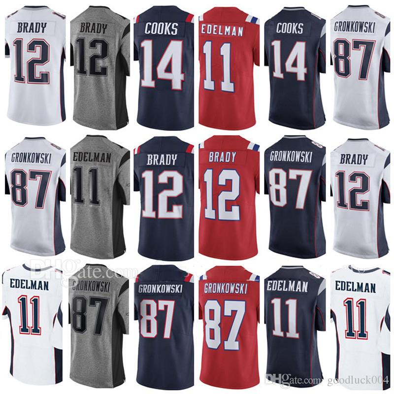 official photos a34aa 66796 Mens Jersey #12 Tom #87 Rob Gronkowski Jersey #11 Jlian Edelman #14 Brandin  Cooks 100% Stitched Jerseys Embroidery and 100% Stitched