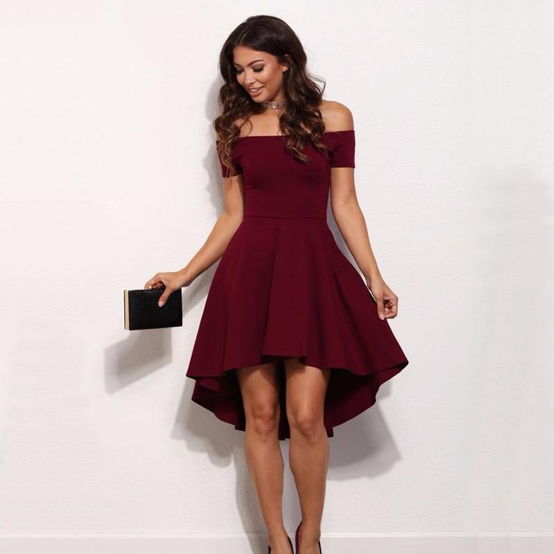 6c1759cfee422 Satın Al Vintage 2018 Kadınlar Seksi Slash Boyun Katı Renk Parti Elbise  Sonbahar Yeni Moda A Line Siyah Kırmızı Şarap Diz Boyu Elbiseler D19010501,  ...