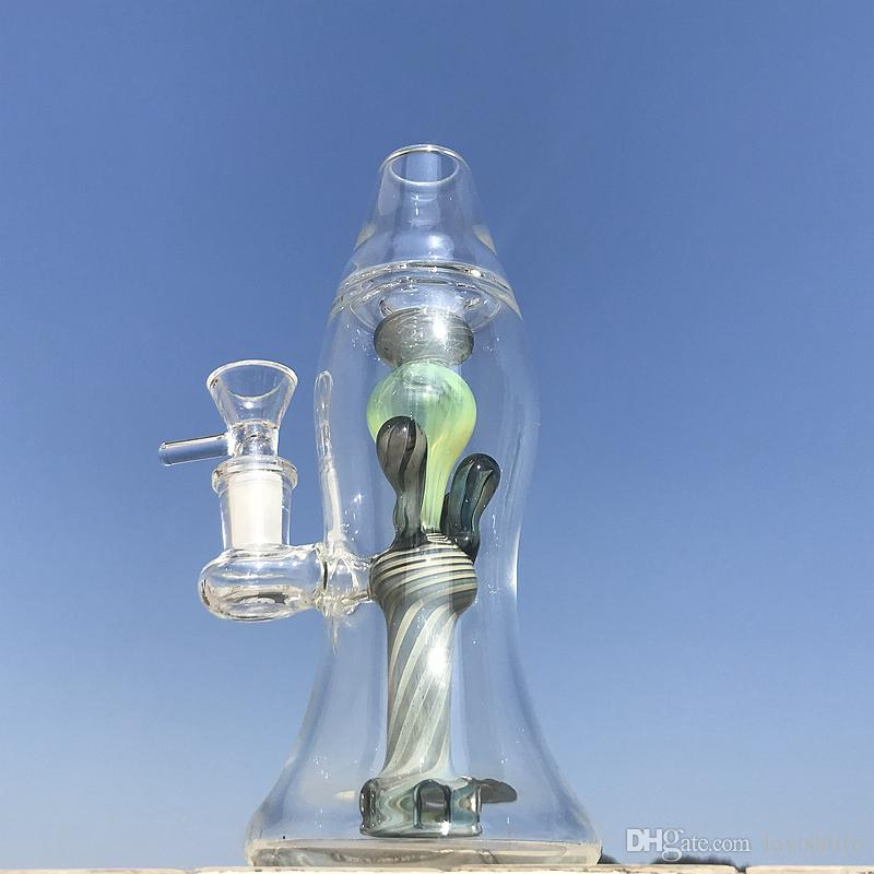 Green Lava lamp Glass Bong Beaker Bongs 5mm Thick Oil Dab Rigs Water Pipes With Bowl Heady Color Glass Bongs XL-LX3