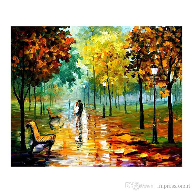 "24""x36"" Forest path living room White birch sofa background wall decoration painting European painting hand-painted canvas oil painting"