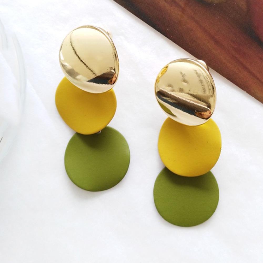 Chadestinty Korean Geometric Earrings Round Clip Earing Without Piercing Women Jewelry Yellow Pink Ear Clips Cuff Earings