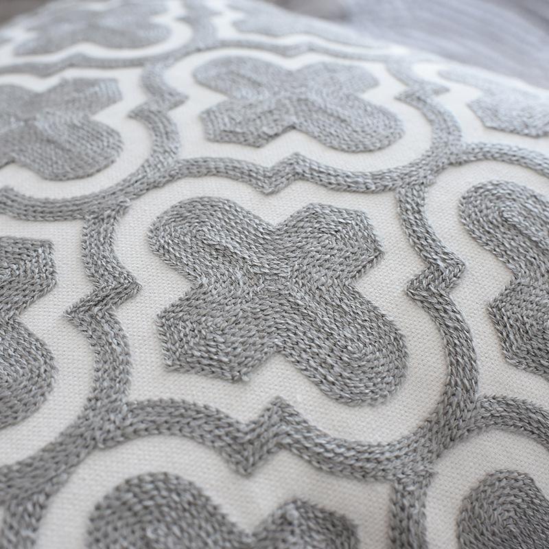 북유럽 기하학적 쿠션 커버 Embroidered 그레이 캔버스 코튼 자수 베개 커버 소파 자동차 홈 장식 45x45cm