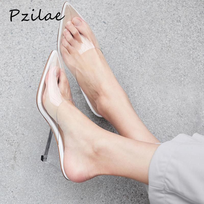 2a8ee2cb45b Pzilae Sandalias Mujer 2019 High Heels Mules Shoes Women Clear Heels Slipper  PVC Mules Transparent Slippers Ladies Pumps Women Boots Online Cowboy Boots  For ...
