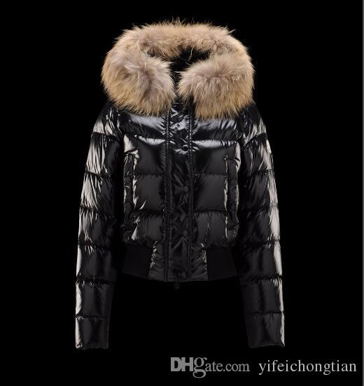 new product e315f 5ff39 Neue Winter Daunenjacke Kurze Jacke Warme Damen Hoodies mit Waschbärpelz  Kaltmäntel Damen Brand Designer Outdoor M Alpin Outwear Parkas