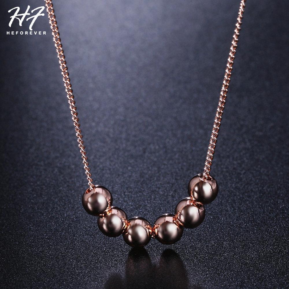 À la mode Transport Perle Collier pour Femmes Or Rose Couleur Pendentif Bijoux De Mode cadeau pour Le Jour De Noël N267
