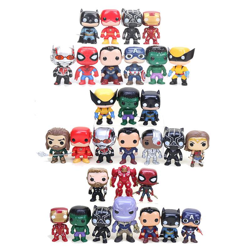 buy popular 8b156 9c97f Acheter   Set Marvel Avengers Batman Superman Iron Man Spiderman Flash Noir  Panthère Hulk Wonder Woman Thanos PVC Figurines De  47.85 Du Bluetiger    DHgate.