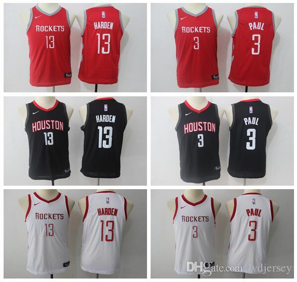 f0910487f Youth Houston New Season Rockets Jersey 13 James Harden 3 Paul ...