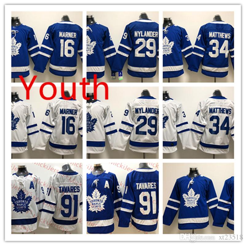 detailed look cc742 79b6e Youth Toronto Maple Leafsohn John Tavares Jersey Kids 16 Mitchell Marner 29  William Nylander #34 Auston Matthews Toronto Maple Leafs Jersey