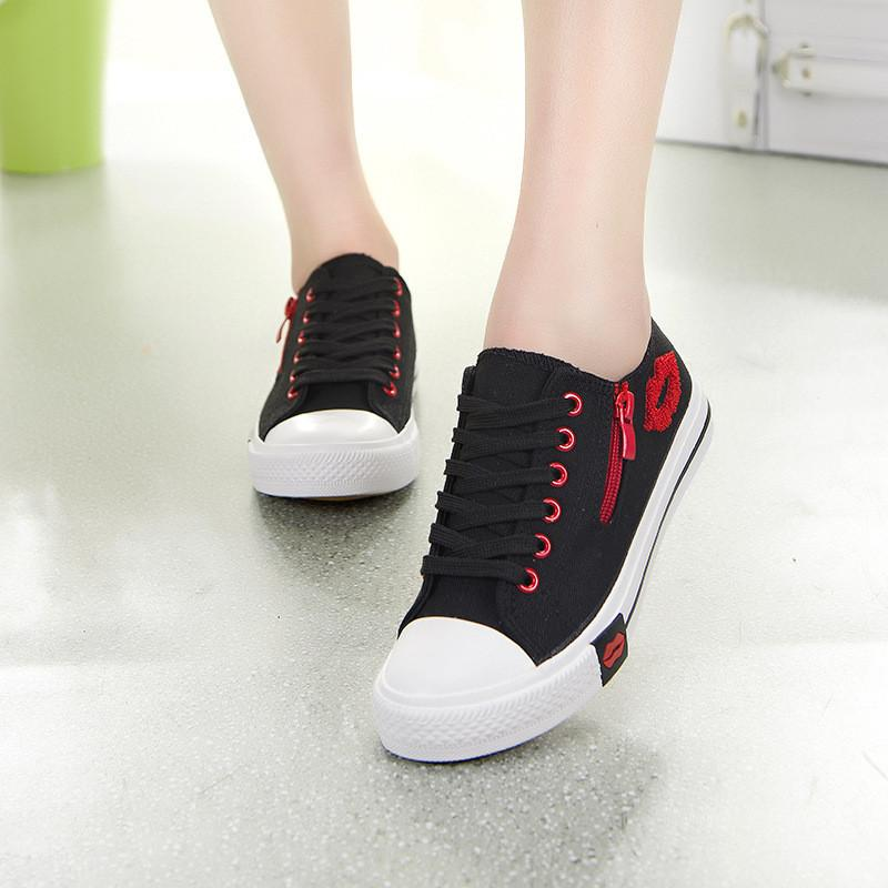 be01bbd644 Red Lips Zipper Canvas Womens Shoes Flats 2019 Girls Lace Up Brand Flat  Shoes Women Comfortable Walking Sneakers Zapatillas plataforma