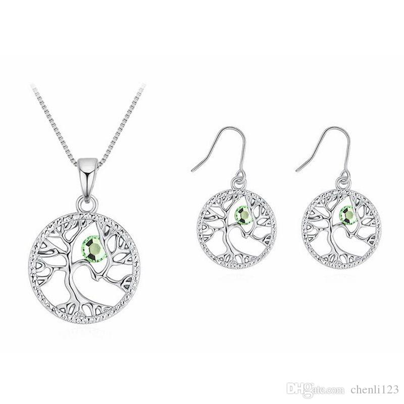 cd2ff2366 Austrian Crystal Pendant Necklace Earrings Suit-Acacia Tree Crystal ...