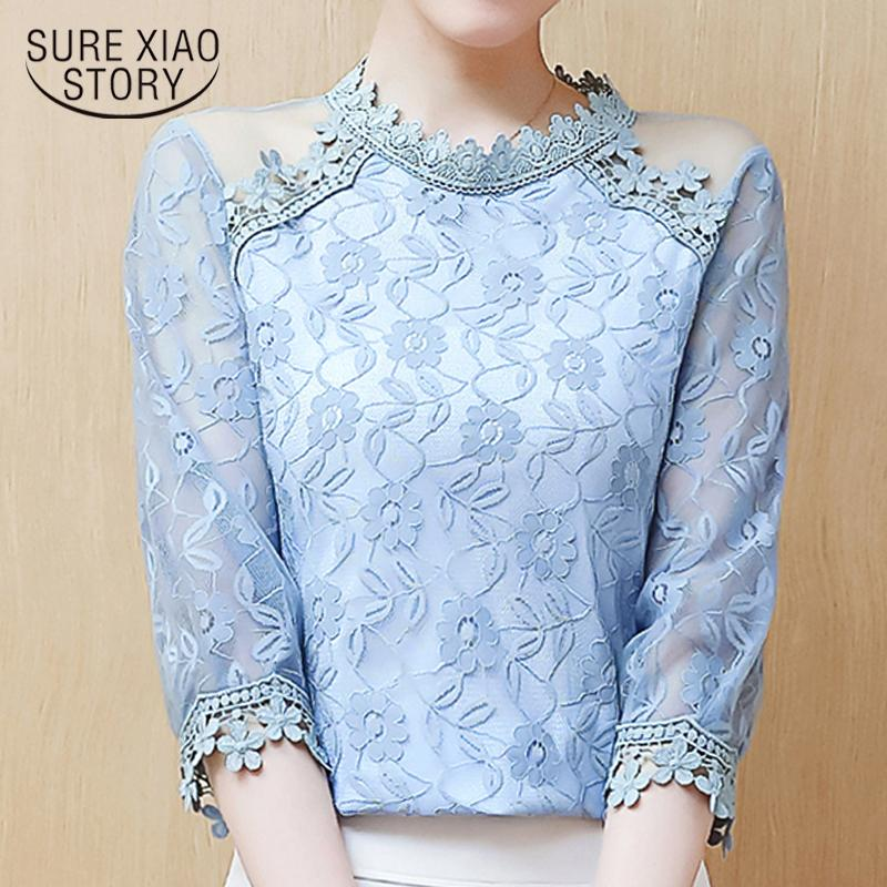 f30828c0b0a4ea 2019 Fashion Woman Blouses 2019 Sexy Mesh Stitching Hollow Lace Blouse  Shirt Summer Topsblusas Femininas Elegant Women Shirts 2237 50 From Jingju,  ...