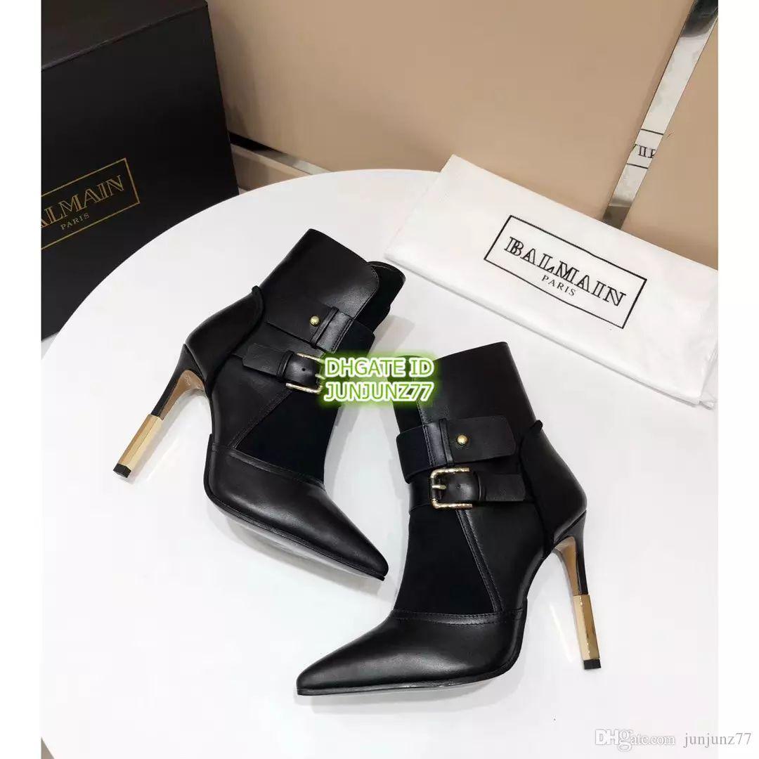 e32b60ea499 Compre Top B Moda De Alta Calidad Clásico Para Mujer Cuero Genuino Hebilla  De Metal Botines Zapatos De Tacón Alto Botines A  200.01 Del Ado522
