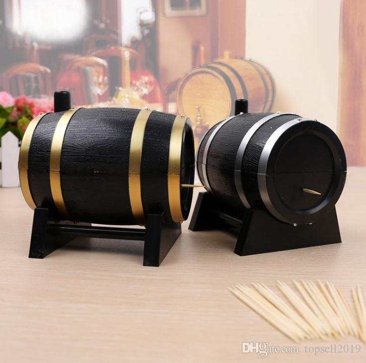 2018 Hot Plastic Toothpicks Holder Toothpick Dispenser French Oak Wine Barrel Shape Toothpick Holder Automatic Box SN2198