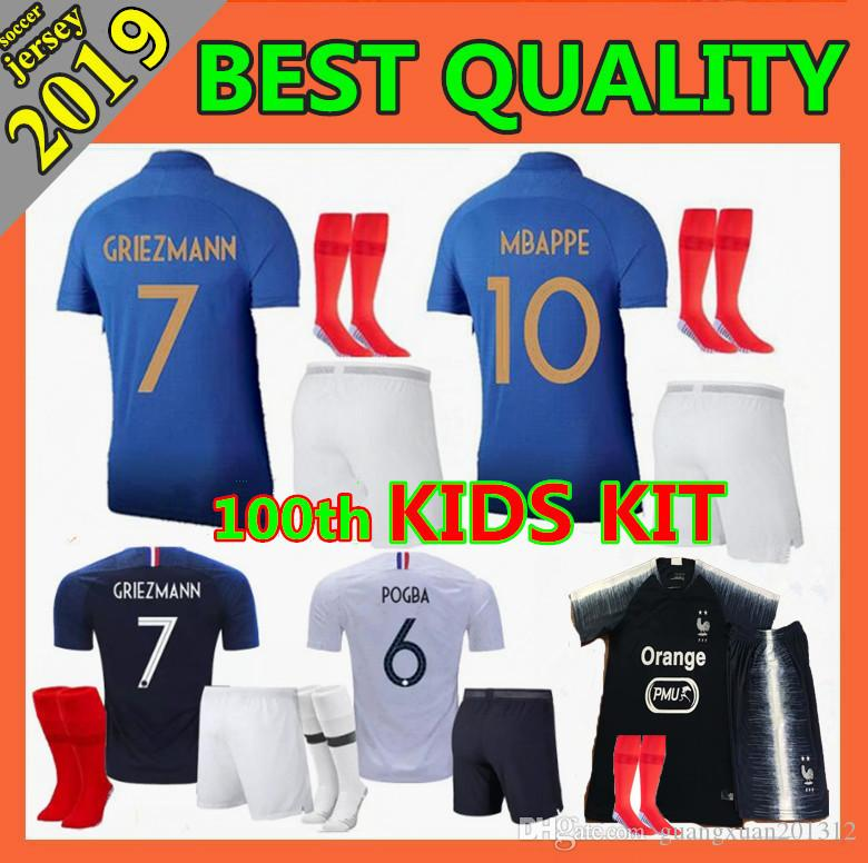 732476f68c1 2019 2 Stars 2019 GRIEZMANN World Cup Soccer Jerseys Kids Kit 18 19 20 POGBA  PAYET KANTE Mbappe DEMBEL Eequipe 100th Anniversary Football Shirts From ...