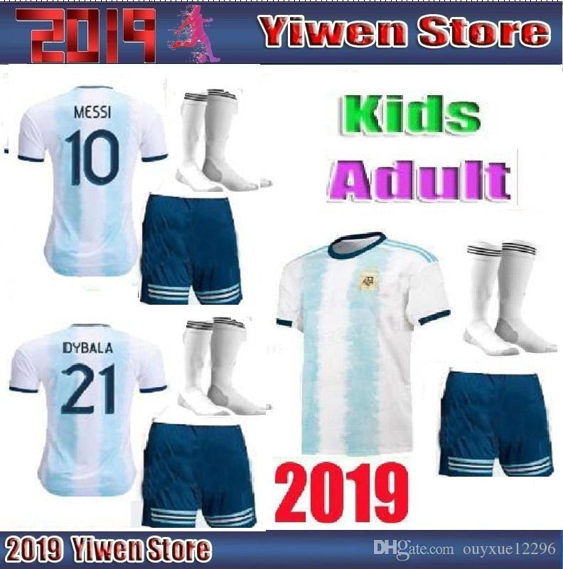 ae4a8306c57 Adult And Kids Argentina 2019 Copa America Soccer Jersey Home 19 20 ...