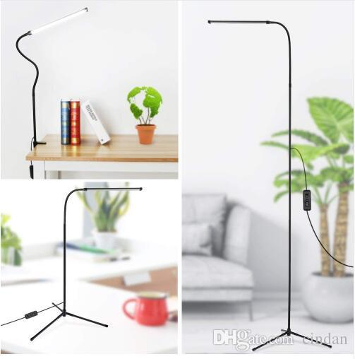 3-in-1 Dimmable Standing LED Floor Lamp with C-Clamp Tripod Base Eye-Care Reading Desk Lamp with Flexible Gooseneck for Study