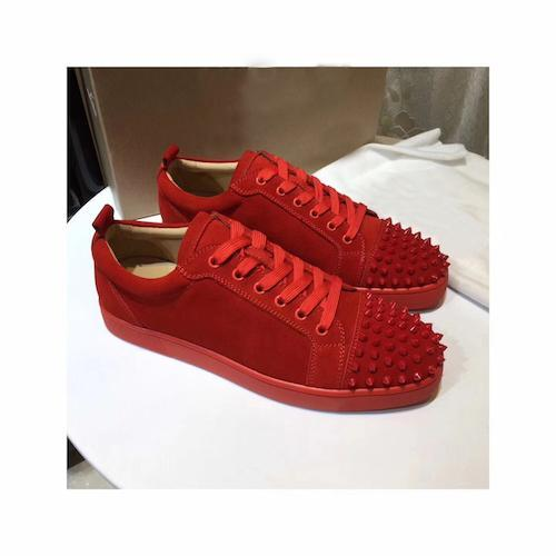 purchase cheap 7fe83 c14af 2019 NEW Designer Sneakers Red Bottom Shoes Low Cut Suede Spike Luxury  Shoes Party Wedding Crystal Leather Sneakers