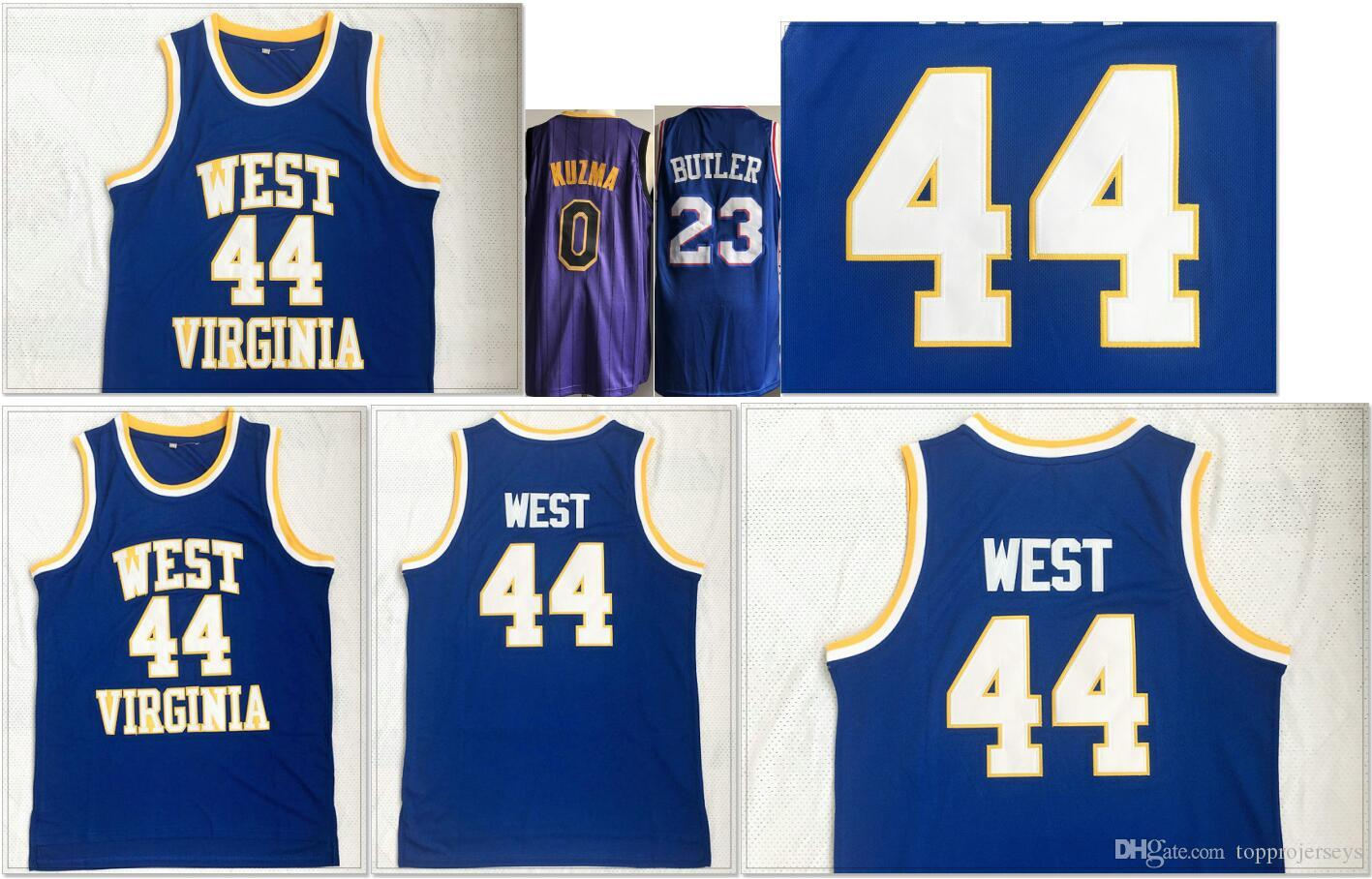 low cost d286c f5b68 West Virgina #44 Jerry West Mens College Basketball Shirts 0 Kyle Kuzma #23  Jimmy Butler Vintage Stitched Embroidery Team Baseball Jerseys