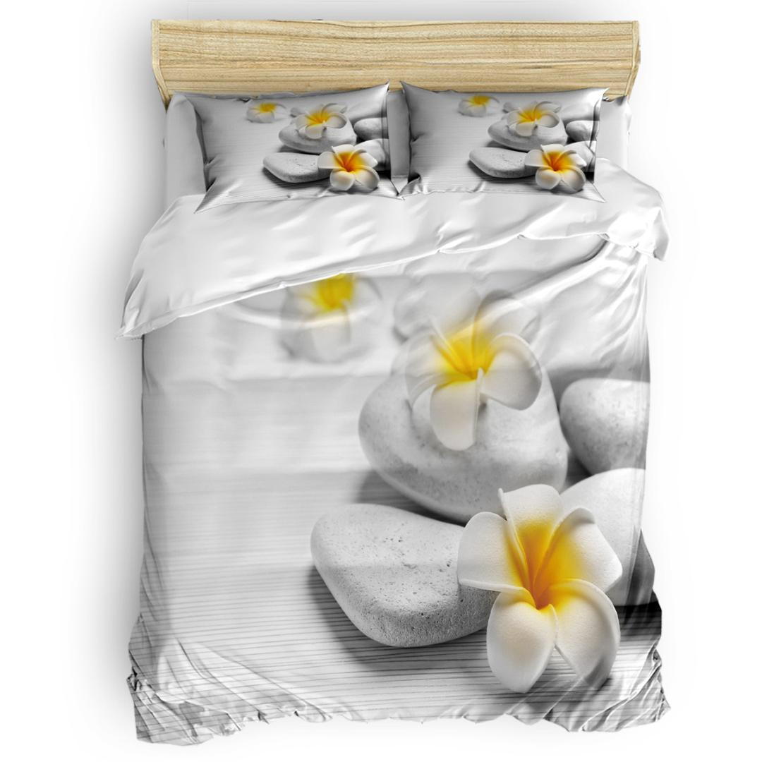 Yellow Flowers And Stones Abraham Birthday 4 Piece Bedding Sets Quilted Duvet Set Duvet Cover Sets Machine Washable
