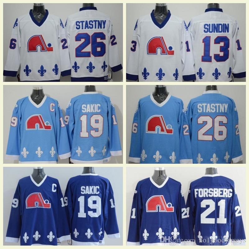 Quebec Nordiques Ice Hockey Jerseys 19 Joe Sakic 21 Peter Forsberg 13 Mats  Sundin 26 Peter Stastny Jersey Blue Wite Best Quality Canada 2019 From  Bellinger b57cc45b0