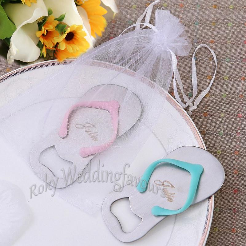 Personalized Flip Flop Bottle Opener with Organza Bag Wedding Favors Bridal Shower Event Party Giveaways Father Day's Gifts