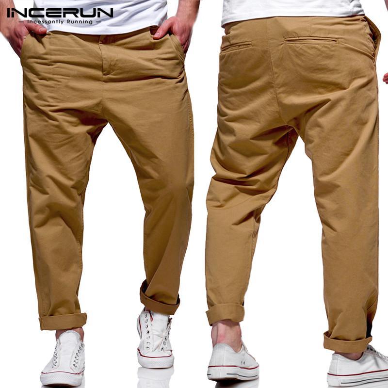82879fa659fb4 Compre Moda Vestirse Formalmente Hombres Pantalones Vestir Chinos Oficina  Pantalones Sólidos Hombre Pantalones Largos Sueltos Fitness Joggers Pantalon  ...