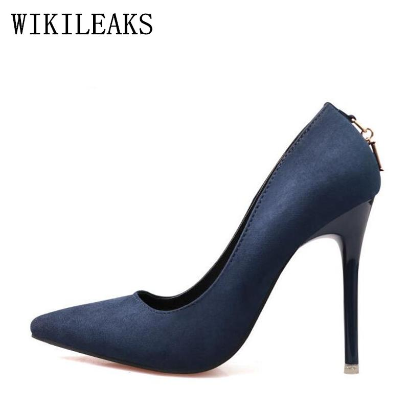 Designer Dress Shoes Red Fetish High Heels Woman 2019 Genuine Suede Leather  Women Pumps Thin Spike Heel Pointed Toe Spring Blue Valentine Footwear Bass  ... 748cdbed166d