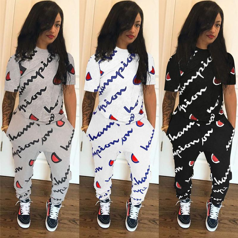 2019 champions Short Sleeve Pocket Letter Print Two Piece Sets plus size women girls Tracksuit Tights Leggings trousers t shirt suits