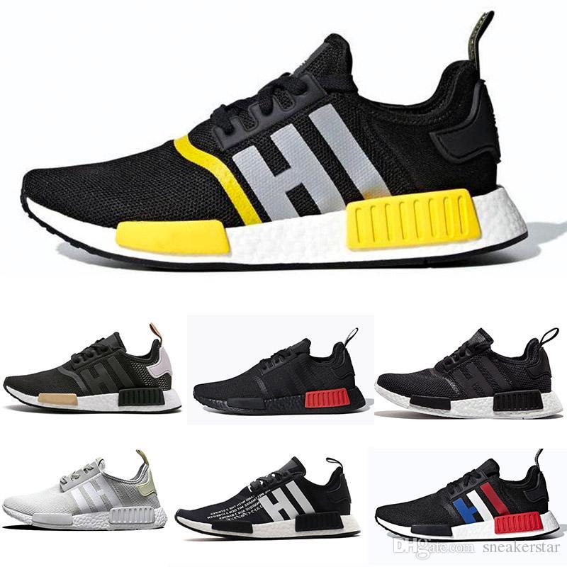 brand new ea533 87472 2019 NMD Runner R1 Primeknit Triple Black White Bee Nmds Designer Running  Shoes For Men Women OREO Runner Sports Sneakers 36-45