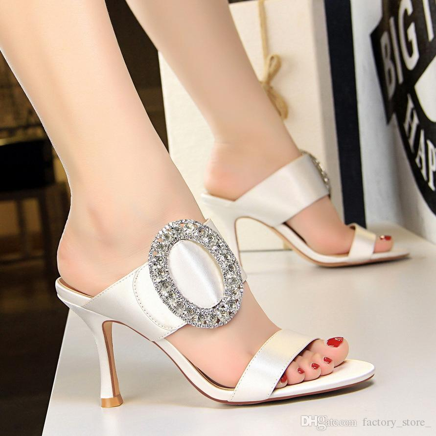 Rhinestone Sandals Sexy Shoes Luxury Shoes Women Designers Slippers Women  Black Heels Shoes Woman Sandals Zapatos De Mujer Scarpe Donna Ladies Sandals  Girls ... b8d4421638aa