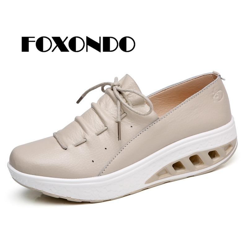 213529d3d Compre Zapatos De Vestir Foxondo 2019 Primavera Mujer Cuero Genuino  Plataforma Zapatillas De Deporte Creepers Recortes Resbalón Mocasines Mujer  A $30.16 Del ...