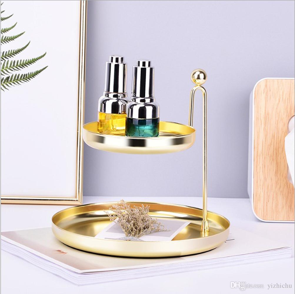 Nordic Light Luxury Bathroom Double-Layer Vanity Tray/Gold Metal Cosmetic Makeup Storage/Stunning Jewelry Round Organizer Rack Holder Stand