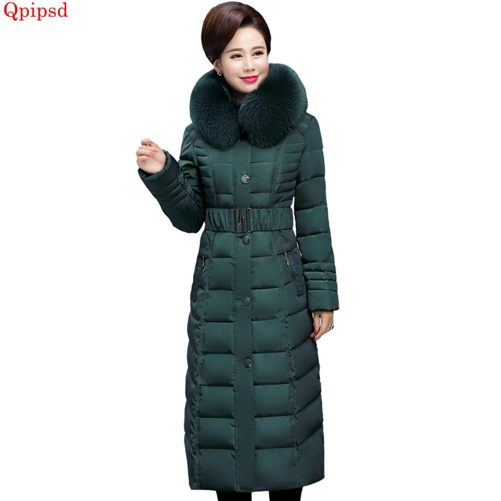 new york 13b03 bc6c6 Abbigliamento donna di mezza età in cotone imbottito parka 2019 Inverno  giacca lunga donna piumino donna con cappuccio caldo cappotto parka caldo