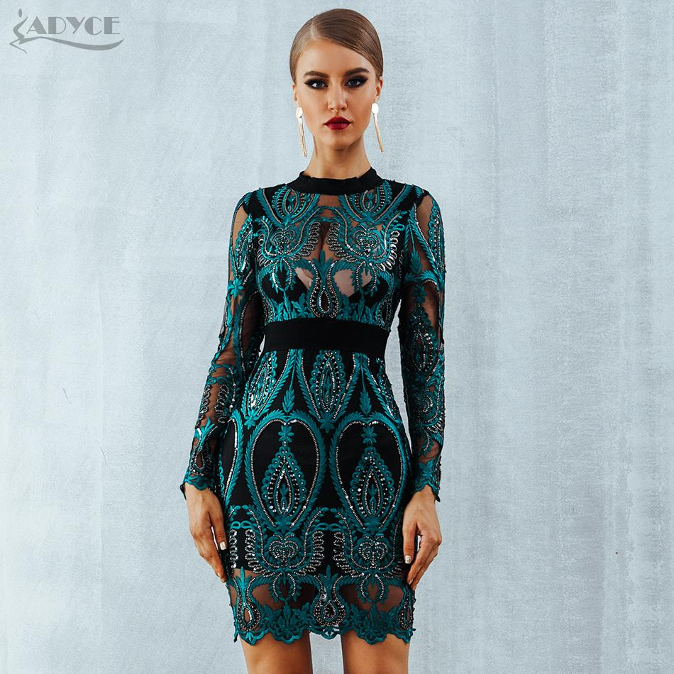 2019 Adyce Celebrity Party Sequin Dress Women 2019 New Long Sleeve Backless  Sexy Mesh Hollow Out Mini Luxurious Club Dresses Vestidos Y19012201 From ... c5e3209a1858