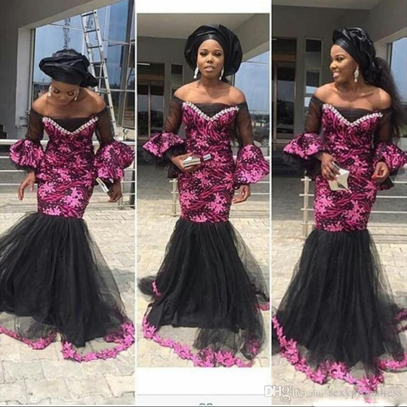 102d40f22ab Aso Ebi Off Shoulder Prom Dresses Back And Fuchsia Lace Mermaid Evening  Gowns South African Trumpet Sleeves Tulle Floor Length Women Dress Size 18  Prom ...