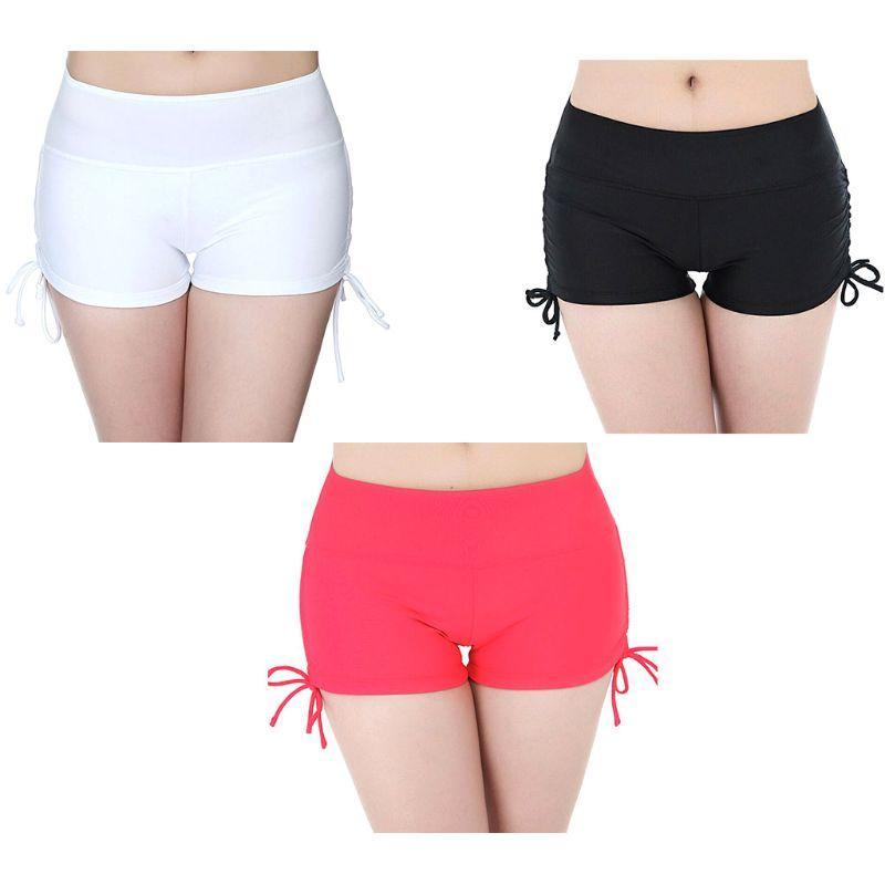 464f0ad13b96 Mujeres Verano de cintura alta Beach Gym Pantalones cortos de natación  Control de la panza Tie lateral Nudo Con pliegues Boardshort Color sólido  Yoga ...