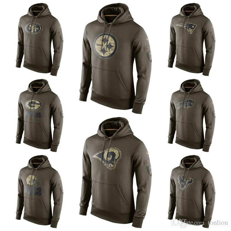 new styles 129cf 30680 Top Quality 2019 Hot Sweater Men Salute to Service Sideline Performance  Hoodie Sweater 49ers Steelers Patriots Bills Packers Browns