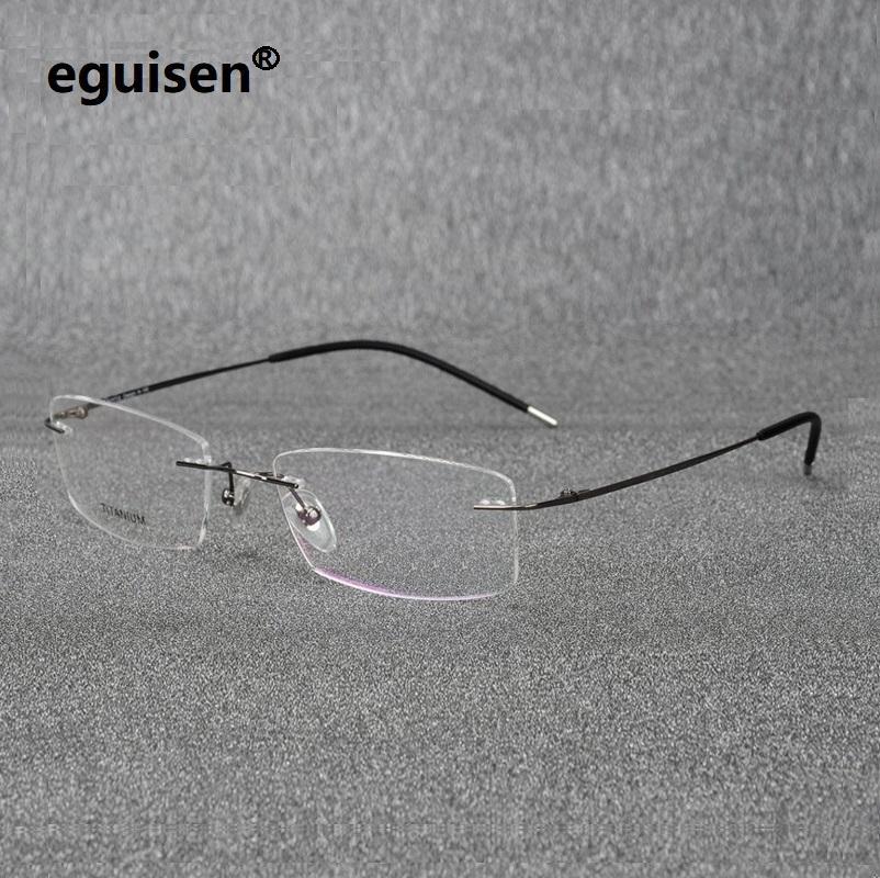 d3e7f63f4e6f 2019 Ultra Light Pure Titanium Rimless Eyeglasses Frames For Men Women  Myopia Eyewear Frame Prescription Glasses Spectacle Frames From Ericgordon,  ...