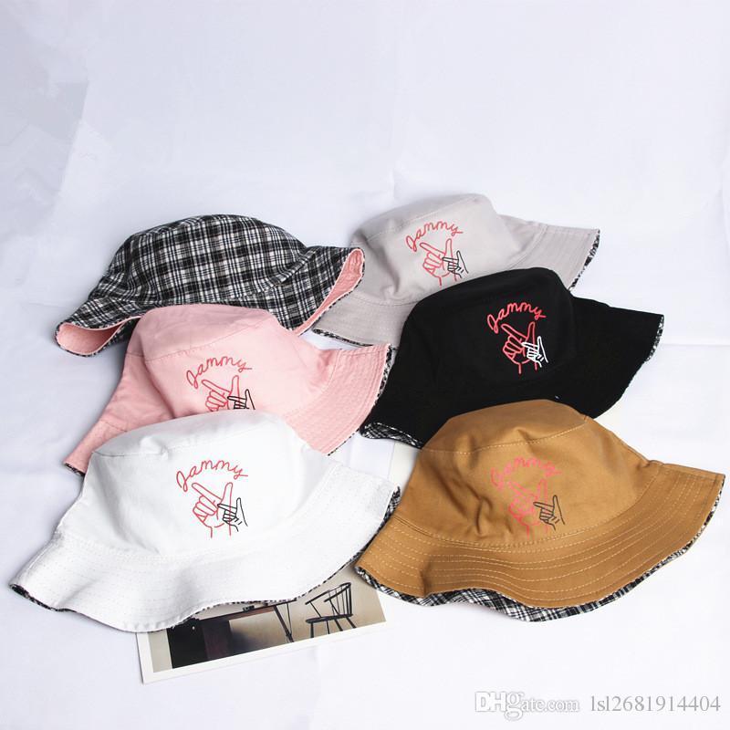 1a8c8457492 2018 Cotton Gesture Print Two Sides Bucket Hat Fisherman Hat Sun Cap ...