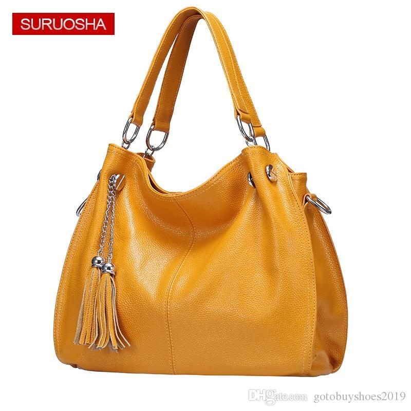 6da8091b0 Amazon Yellow Women 100% Genuine Leather Hobo Bag Female Real ...