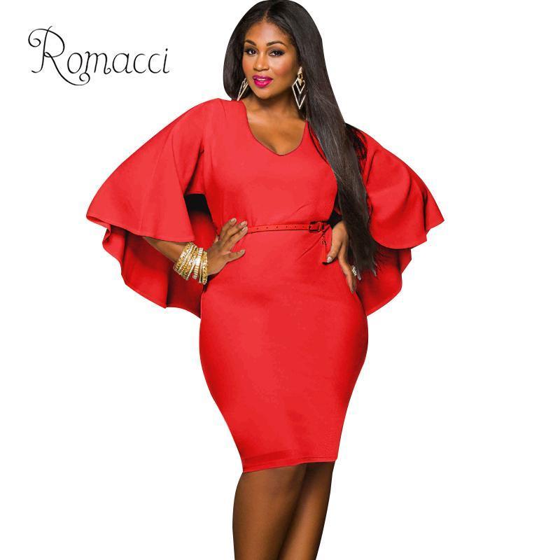 751374d7d66 Romacci 2019 Summer Fashion Bandage Midi Dress Women XXXL Plus Size ...
