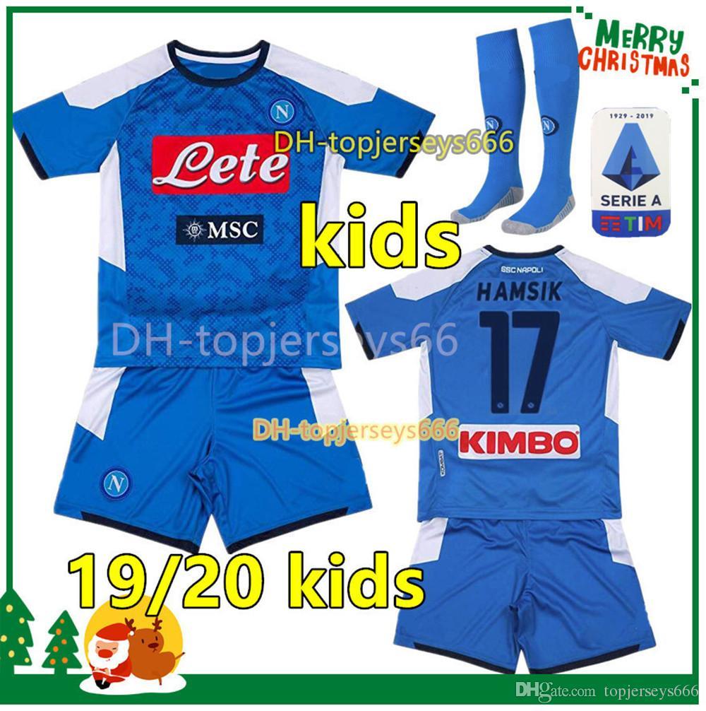 new arrival b8bfa e55cc 2020 Naples kids kit sets socks 19 20 napoli soccer jersey kids 2019 2020  Naples HAMSIK INSIGNE MERTENS FABIAN kids football kits shirts