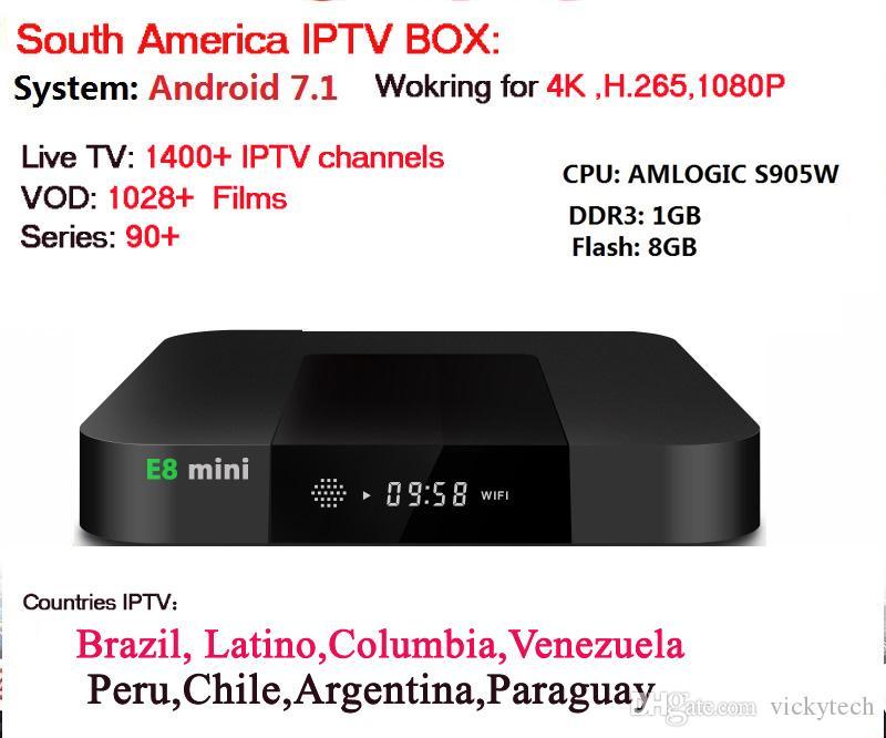 E8mini IPTV box with brazilian Portugal Spanish Latino chile Columbia Live  TV 4000 channels 2500 vod EPG South America Sports TV Series