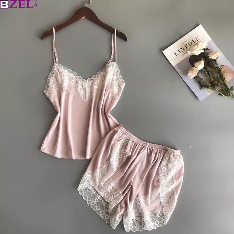 6b54dc2df 2019 Ladies Spring And Autumn New Ice Silk Sleepwear Female Sexy Lace Silk  Satin Pajama Camisole And Shorts Two Piece Suit Home Suit From Yujinnice