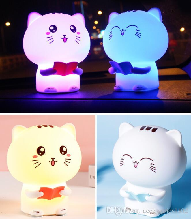 New LED night light Mini cartoon cat remote control silicone patted induction atmosphere bedroom bedside table lamp