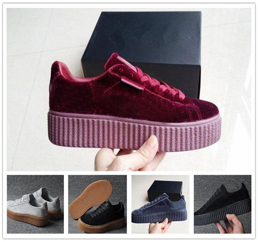 the best attitude fbd16 3696f Womens Rihanna Riri Fenty Platform Creeper Velvet Pack Burgundy Black Grey  Color Brand Ladies Classic Casual Shoes 36-39