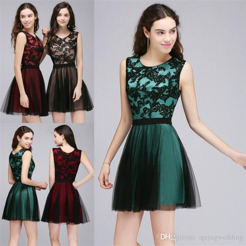 5ec6a148411 2019 Cheap Mini Short Homecoming Dresses New Burgundy Lace Tulle Cocktail  Party Dresses Short Bridesmaid Graduation Wear CPS712 Cute Dresses Red  Dresses ...