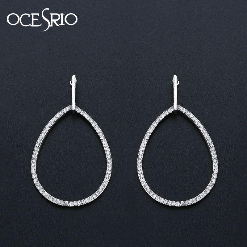 3312c3185b300 OCESRIO New 2019 Silver Hoop Earrings for Women Crystal Water Drop Small  Hoop Earrings Silver Circle Statement Jewelry ers-p06