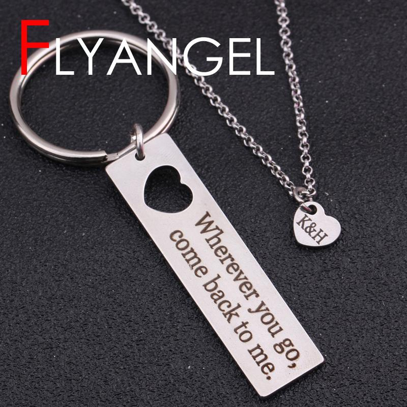 Custom Name Initial Keychain Necklace Emptey Heart Keyring Heart Engraved  Where You Go Come Back To Me Long Distance Love Gifts